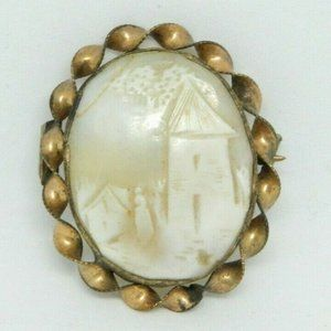 Gold Filled Light Cameo Shell House Village Lady